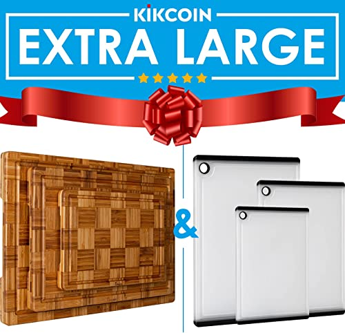 2021 Extra Large Bamboo Cutting Boards, (Set of 3) Chopping Boards and 3 Pieces Large Chopping Boards for Kitchen Cutting new arrival Board Set with Juice online Groove and Silicon Handle outlet online sale