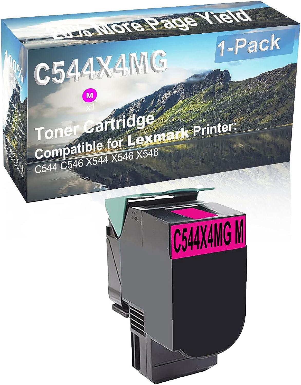 1-Pack (Magenta) Compatible High Yield C540H2MG Laser Printer Toner Cartridge Used for Lexmark C544 C546 X544 X546 X548 Printer