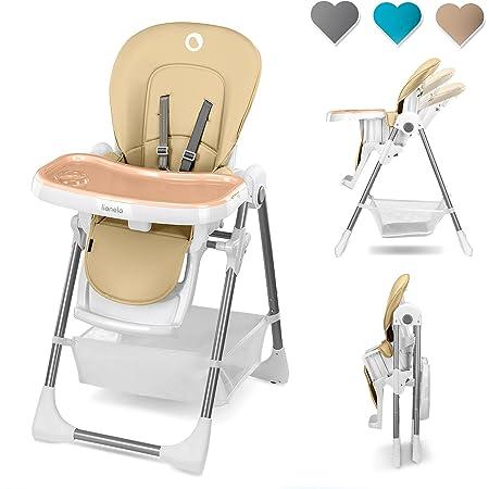 Lionelo Linn Plus chaise haute bebe jusqu'à 15 kg deux plateaux amovibles ceintures à 5 points réglage de la hauteur du siège du dossier et du plateau (Beige)