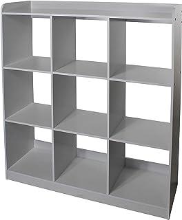 Meuble de rangement modulaire/Étagère pour jouets, 9 compartiments - KCX-9 - Bois, Gris, L103.8 x P35 x H115 cm