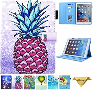JZCreater Case for iPad 9.7 2018 2017 / iPad Air 2 / iPad Air Case - Flip Stand PU Leather Wallet Case, Auto Sleep/Wake Function Smart Cover, Purple Pineapple