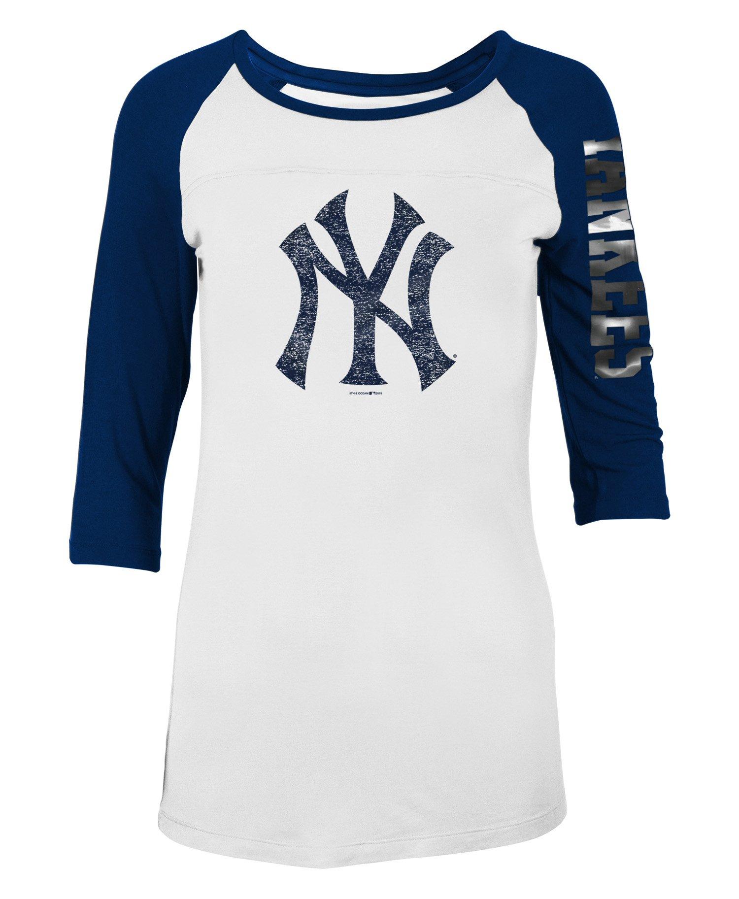 5th & Ocean New York Yankees - Camiseta de Manga 3/4 para Mujer, XXL, Marino: Amazon.es: Ropa y accesorios