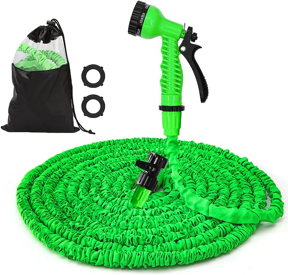 Expandable Garden Hose - 50FT Water Hose, Flexible Lightweight Water Hose, 7Function Spray Nozzle, Triple Layer Latex Core Water Pipe & Extra Strength Fabric, Flexible Garden Hose (Green)