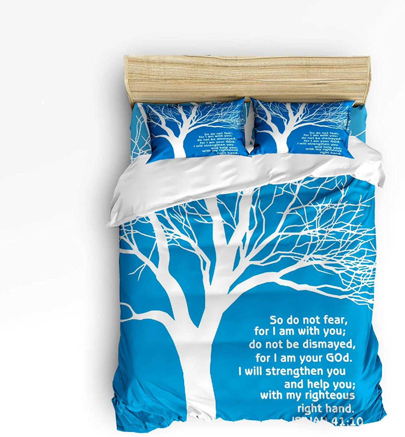 Duvet Cover Set Twin Size Christian Bible Verses Scripture Quotes So Do Not Fear, for I Am with You Lightweight Microfiber Duvet Cover Sets