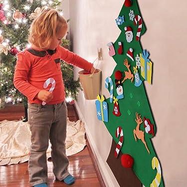 Árbol de Navidad AerWo de fieltro, para pared, de 3 pies de altura y 26 adornos extraíbles