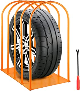 VEVOR Tire Inflation Cage, 5-Bar Tire Cage, Heavy-duty Car Tire Inflation Tool with A Tire Changer, Tire Inflation Accessories, Rugged Steel Frame Portable Tire Cage 1040 x 660 x 1460 MM