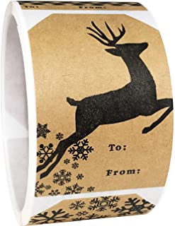 Natural Kraft Christmas Gift Tags Holiday Present Stickers 4 Different Designs 2 x 3 Inch 100 Total Labels