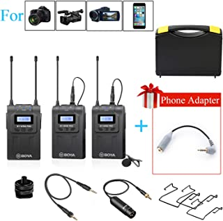Dual Wireless Lavalier Microphone Smartphone, BOYA Dual-Channel System 2 Transmitter & 1 Receiver for DSLR Camera Recorder iPhone X 8 7 6 Samsung YouTube Street Interview Facebook Livesteam Vblog