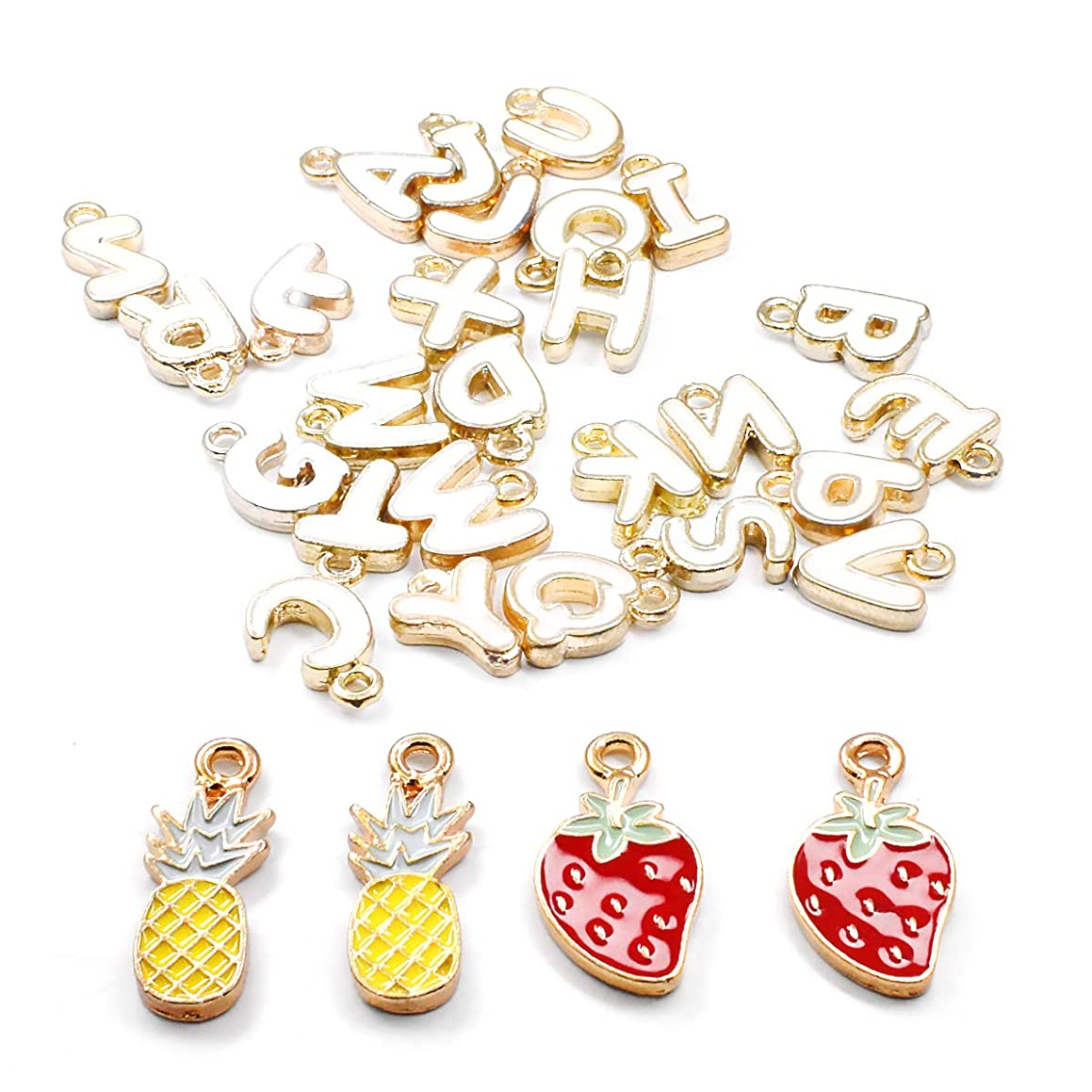 DIY Pendants for Jewelry Making, Airelon Premium Charm Pendants Earring Jewelry Sweater Chain Bracelet Band Decorative Unicorn and 26 Letter Design Colorful Mixed DIY Pendants Set (#F)
