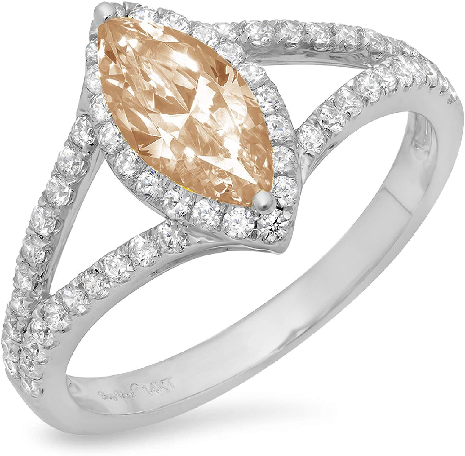 1.20ct Marquise Cut Solitaire with Accent split shank Halo Brown Champagne Simulated Diamond Ideal VVS1 Engagement Promise Statement Anniversary Bridal Wedding Ring 14k White Gold