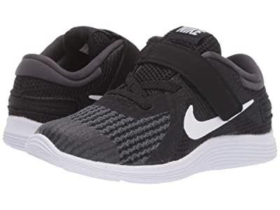 Nike Kids FlyEase Revolution 4 (Infant/Toddler) (Black/White/Anthracite/Total Crimson) Kids Shoes