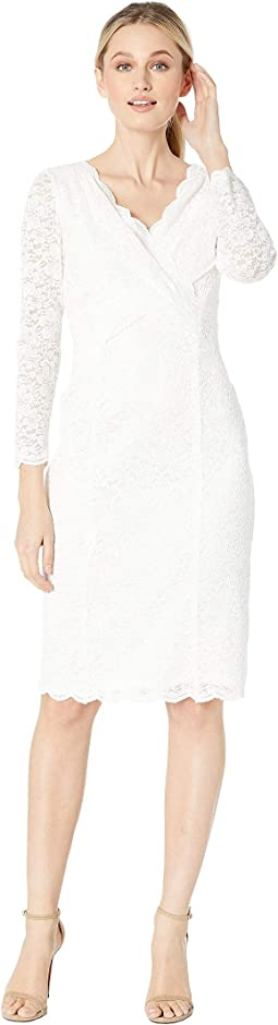 Long Sleeve Stretch Sparkle Lace Sheath with V-Neckline