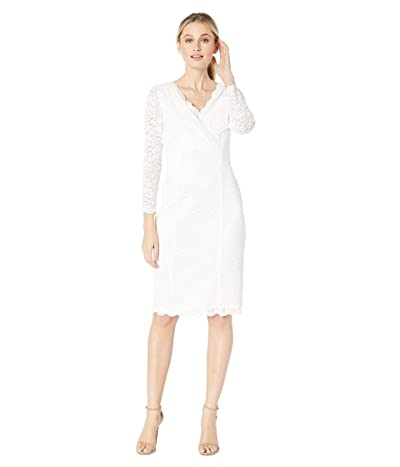 Tahari by ASL Long Sleeve Stretch Sparkle Lace Sheath with V-Neckline (Ivory) Women