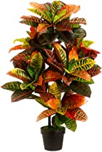 One 3 foot Outdoor Artificial Croton Palm Tree UV Rated Potted Plant