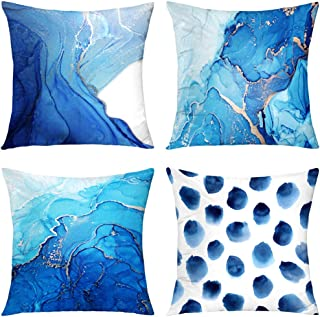 GALMAXS7 Set of 4 Decorative Throw Pillow Covers Navy Blue Marble Dots Sea Texture Abstract Fluid Gold Silver Pillow Cover...