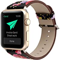 YOSWAN Floral Printed Leather Watch Band Strap for Apple Watch (Black+ Pink flower)