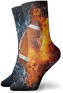 tyui7, Calcetines de compresión antideslizantes de fútbol americano de agua de fuego Cosy Athletic 30cm Crew Calcetines para hombres, mujeres, niños