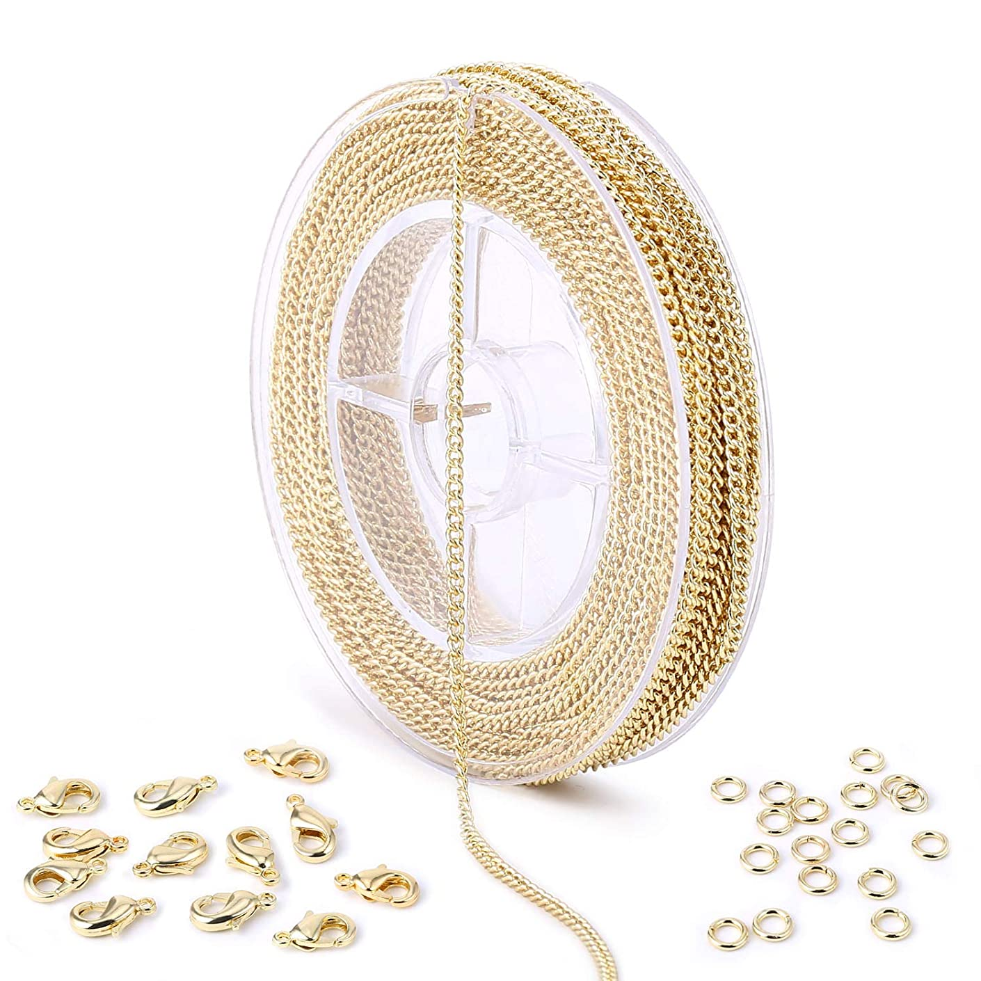 33 Feet Gold Curb Link Chain Spool Bulk with 4mm Jump Ring and Lobster Clasps for Craft DIY Necklace Jewelry Making
