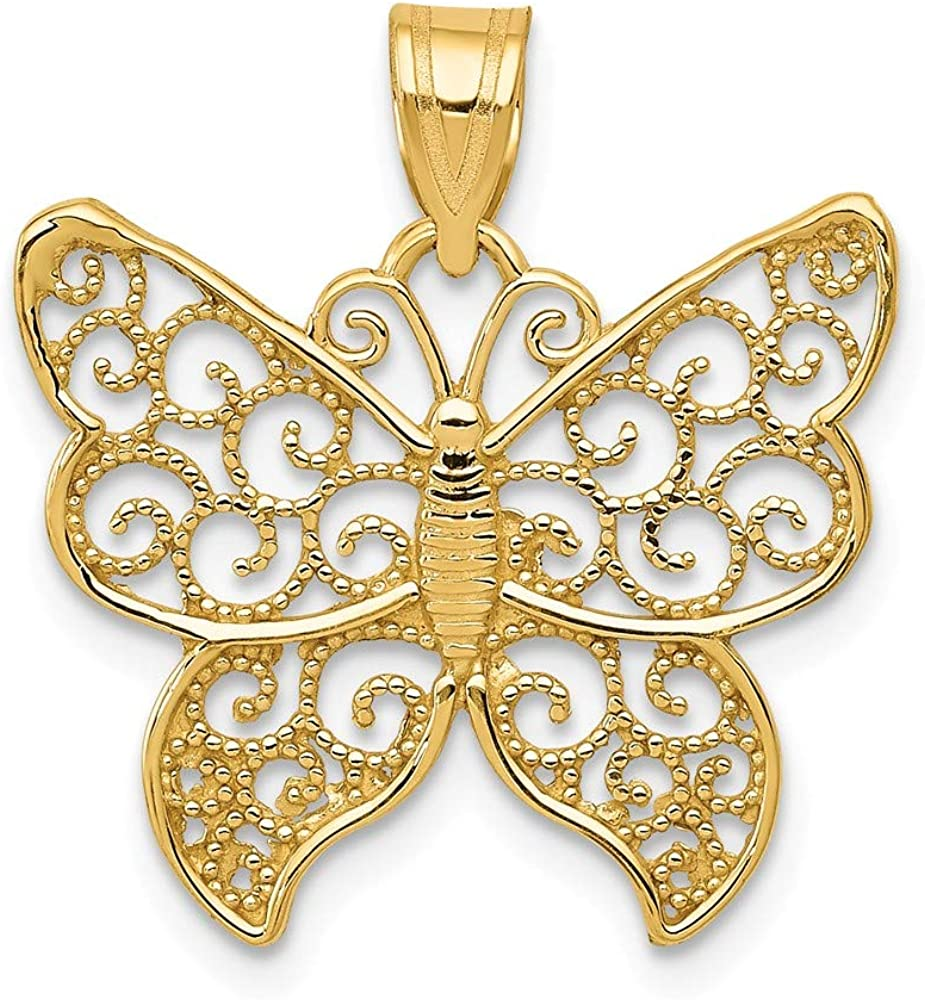 14k Yellow Gold Filigree Butterfly Pendant Charm Necklace Animal Insect Arachnid Fine Jewelry For Women Gifts For Her