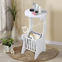 DriftingWood Wooden White Round Shape Bedside End Table with Magazine Holder for Living Room