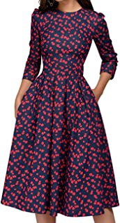 Women's Floral Vintage Dress Elegant Midi Evening Dress...