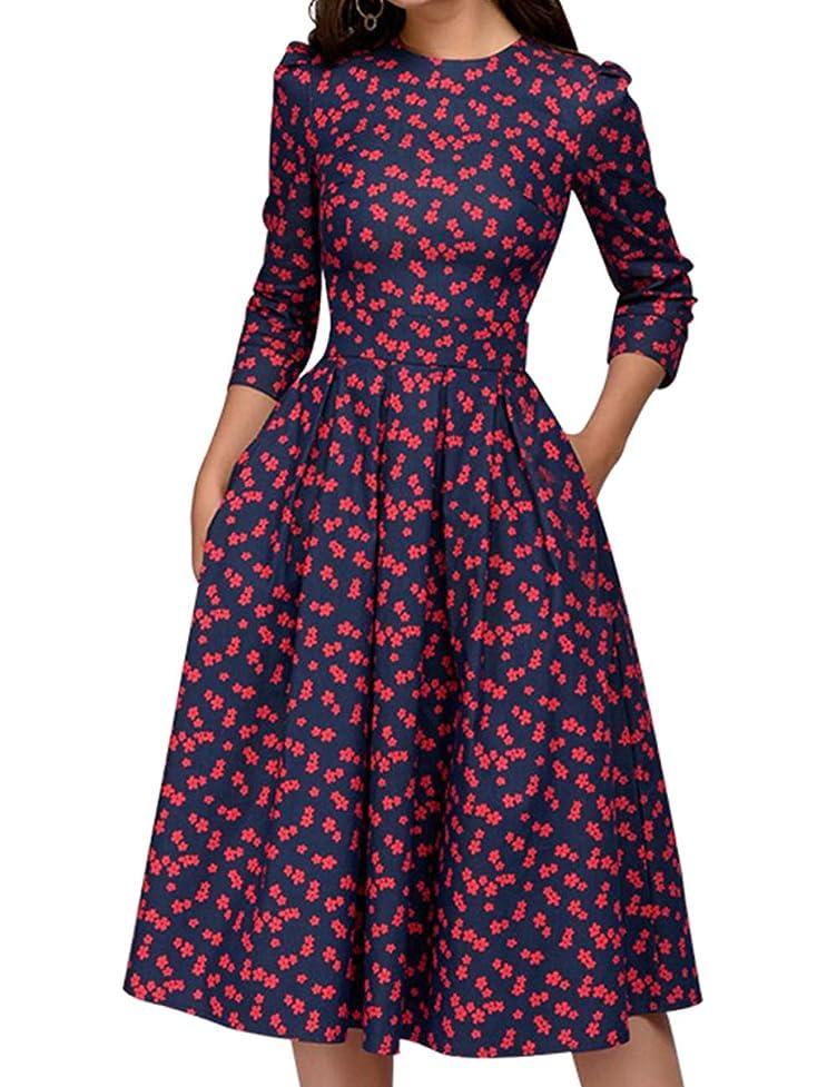 Simple Flavor Women's Floral Vintage Dress Elegant Midi Evening Dress 3/4 Sleeves qrr722816053953
