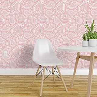 Spoonflower Peel and Stick Removable Wallpaper, Paisley Pink White Retro Vintage 1960 Classic Fun Print, Self-Adhesive Wallpaper 24in x 36in Roll