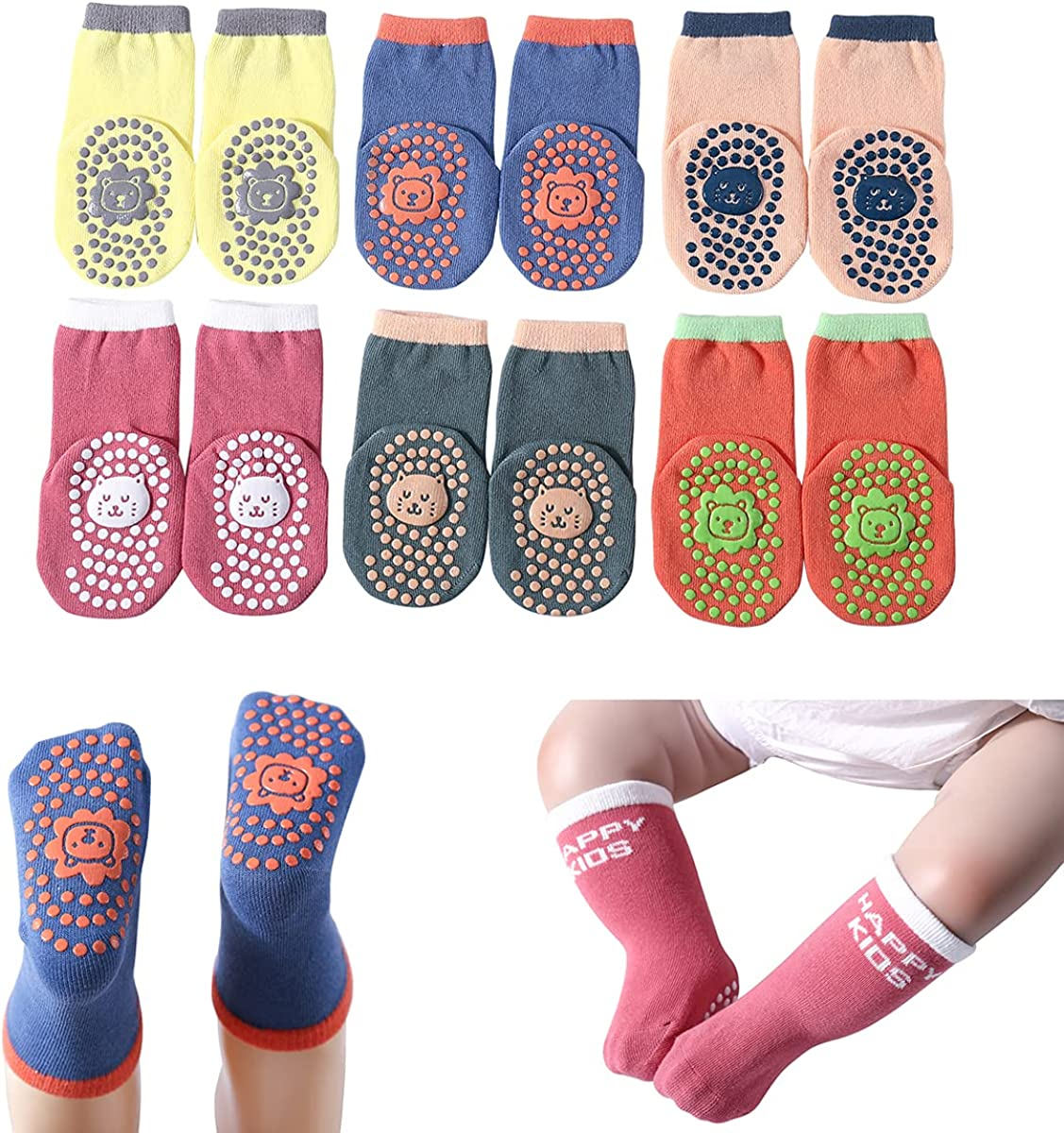 Ninecoo Baby Socks with Grips Infant and Toddler Girls/Boys Non Slip Crew Socks 6 Pairs Cotton 0-12 months and 1-3 Years