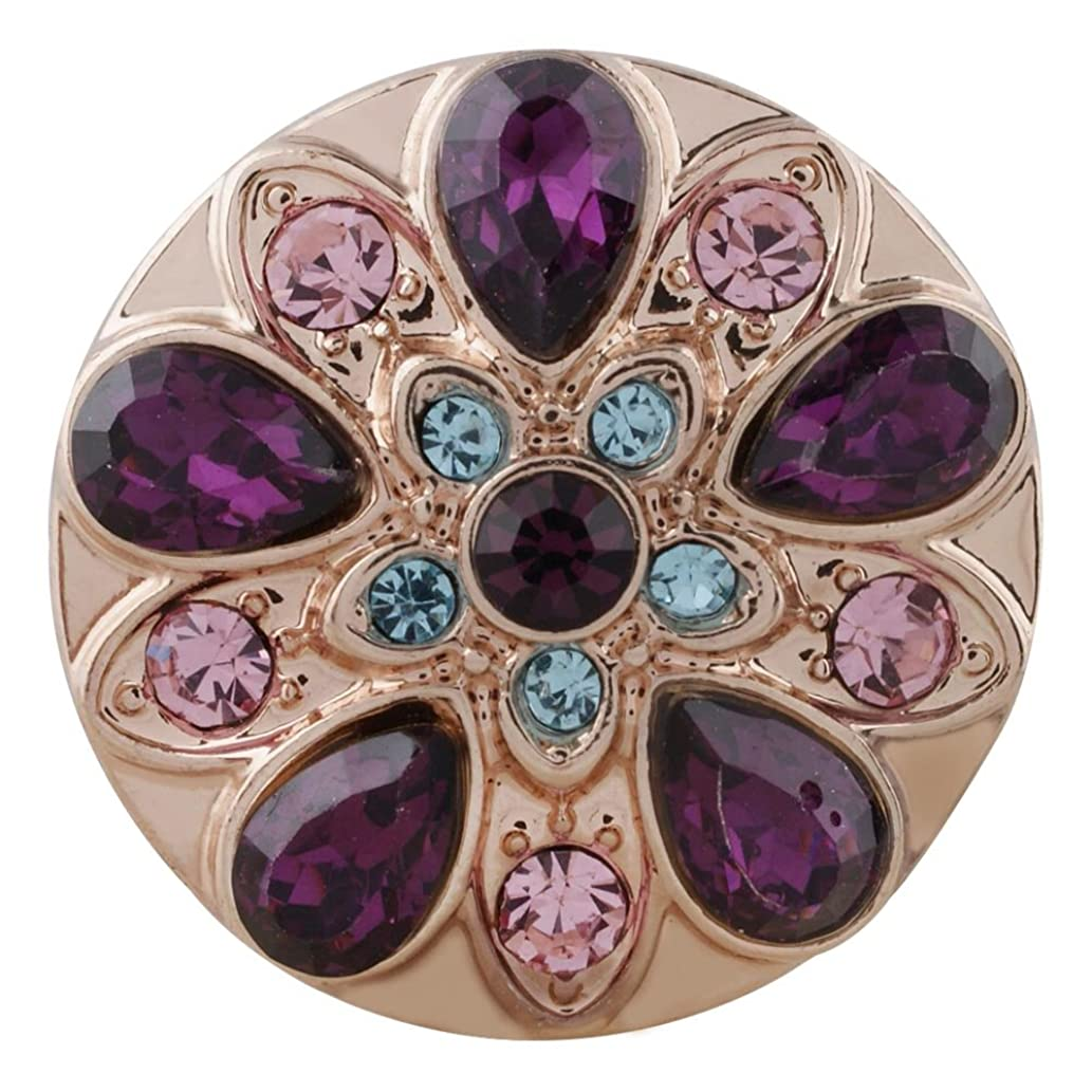 Snap Charm Rose Gold Purple Pink Turquoise Crystals 20mm Standard Size 3/4