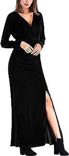 Ayliss Women Velvet Maxi Dress Plunge Neck Long Sleeve Split Side Evening Dress