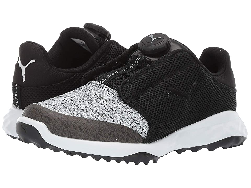 PUMA Golf Grip Fusion Sport Jrs Disc(Little Kid/Big Kid) (Black/Quarry) Golf Shoes