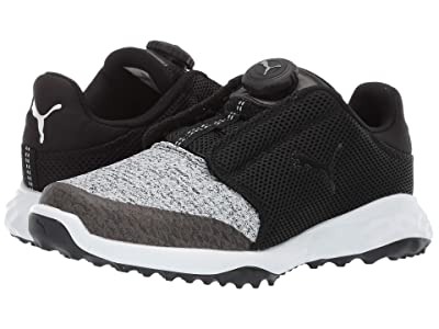 PUMA Golf Grip Fusion Sport Jrs Disc(Little Kid/Big Kid) (Black/Quarry) Golf Shoes