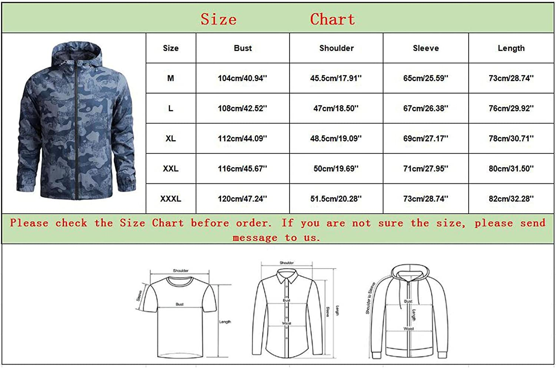 XUNFUN Men's Windbreaker Jacket Full Zip Softshell Lightweight Breathable Waterproof Hooded Outdoor Travel Raincoat