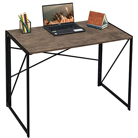 FurnitureR Sin Ensamblaje Mesa Plegable Auxiliar Escritorio Estilo Industrial Imitación Madera (100x50x75 cm)