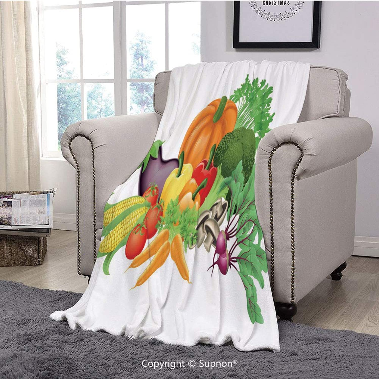 Printing Blanket Coral Plush Super Soft Decorative Throw Blanket,Harvest,Cartoon Drawing Style Fall Harvest Yield Fresh and Tasty Vegetables Bell Peppers Decorative,Multicolor(59  x 59 )