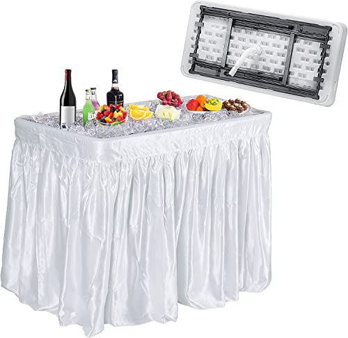 wholesale Giantex 4 Foot Ice Cooler Table w/Matching Skirt and Drain Plug, Foldable sale Buffet Cold Food Keeper for Party, BBQ, Picnic, Family discount Party, Buffet, Wedding, Great for Cooling Food Beverage, Chill Table online sale