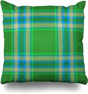 Ahawoso Throw Pillow Cover Pillowcase Pretty Booking Tartan Plaid Pattern Green Classic Bright Check Cool Elegance Design Table Home Decor Design Square Size 16