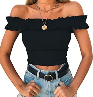 5c00cccea6 Yizenge Women s Off Shoulder Crop Tops Summer Short Sleeves Casual Slim Tees