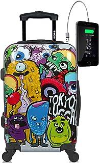 Maleta de Cabina Equipaje de Mano, Monsters&Zombies, 55x40x20 cm | Maleta Juvenil, Trolley de Viaje Ryanair, Easyjet | Maleta de Viaje Rígida Divertida Abstracta, Colores