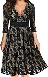 Ez-sofei Women's Vintage 1950s Flare Sleeve Lace Floral Evening Party Dress