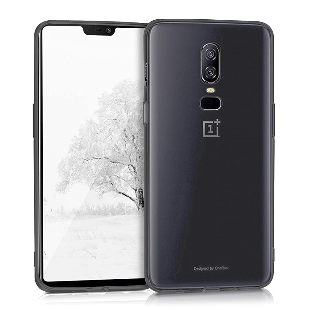 kwmobile Crystal Case for OnePlus 6 - Soft Flexible TPU Silicone Protective Cover - Black/Transparent