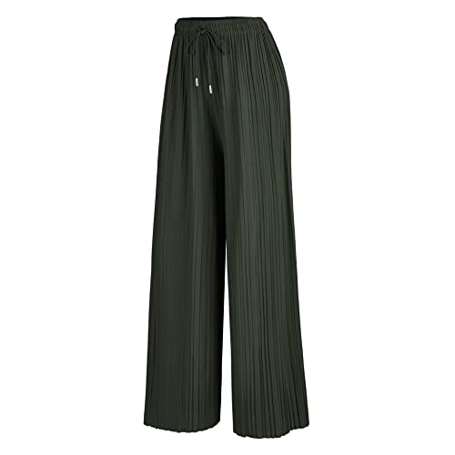 819f1da1 Made By Johnny MBJ Womens Pleated Wide Leg Palazzo Pants with Elastic Band