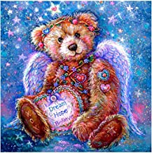 DIY 5D Full Drill Diamond Painting Kits for Adults Kids, Square Crystal Rhinestone Diamond Embroidery Paintings Arts Craft Home Wall Decor (Angel Teddy, 11.8 x 11.8 Inch)