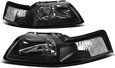 For Ford Mustang New Edge 4th Gen Pair of Black Housing Clear Corner Headlight