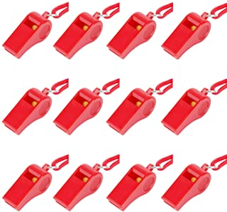 Fya 12PCS Red Emergency Whistle with Lanyard, Super Loud Plastic Whistles Bulk Perfect for Self-Defense, Lifeguard and Eme...