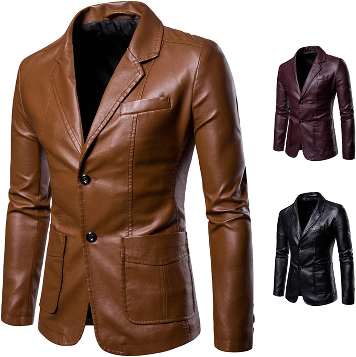 Soluo Leather Blazers for Men - Mens Real Lambskin Leather Jackets & Sport Coats Outerwear Overcoat (Red Wine,X-Large)