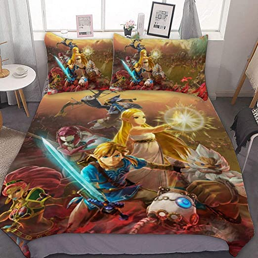 Amazon Com Bedding Duvet Cover Set Full Hyrule Warrior Age Of Calamity Legend Of Zelda Breath Wild 3 Pieces Bedding Set With Zipper Closure And 2 Pillow Shams Cute Cartoon Bedroom Comforter Sets For Boys Girls Home Kitchen