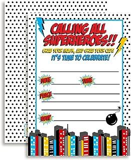 Super Hero Boy Birthday Party Invitations, 20 5