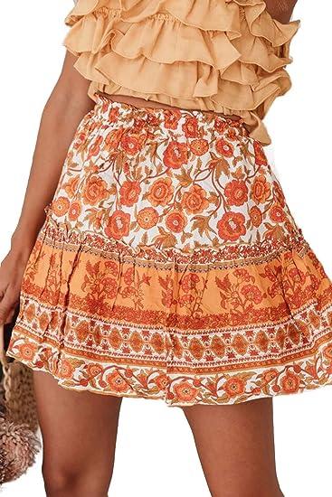 orange boho skirt
