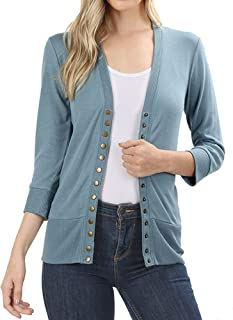 Sorrica Womens Elegant Long Sleeve Open Front Pocket Cable Knitted Cardigan